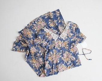 lace collar dress | blue floral dress | long floral dress