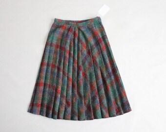 plaid wool skirt | 70s skirt | rainbow plaid skirt
