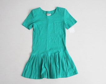 ribbed dress | teal t-shirt dress | drop waist dress