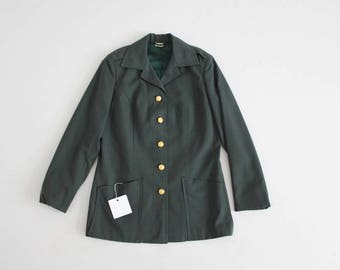 1970s women's army jacket | worsted wool jacket | green army coat