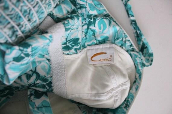 1960s floral swimsuit | zip front swimsuit | aqua… - image 7