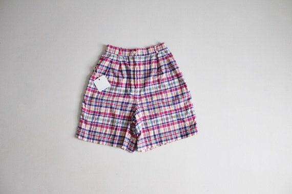 rainbow plaid shorts | pink & purple plaid | plaid