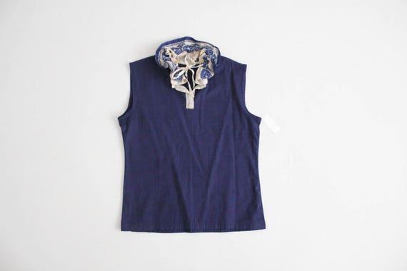 antique lace blouse | navy blue linen top | blue … - image 1