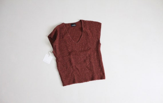 brick red sweater | boucle knit top | red sweater