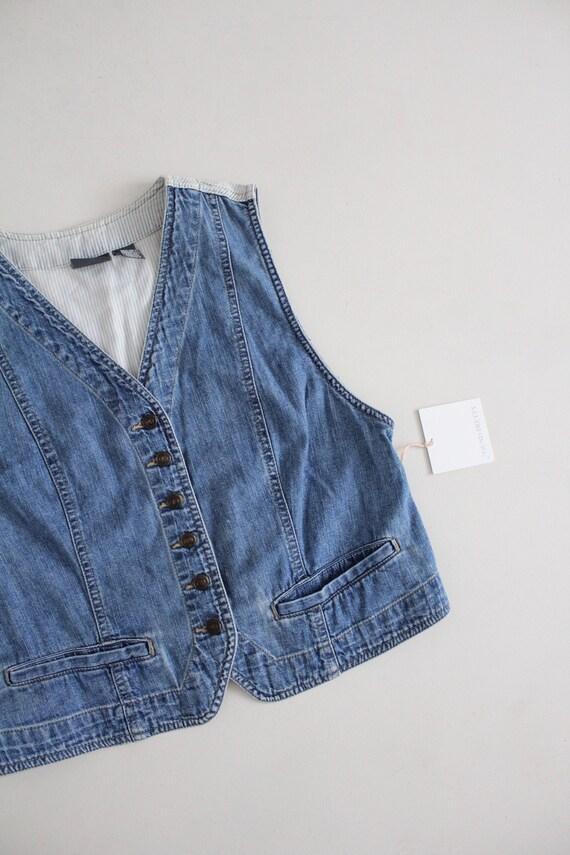 striped denim vest   cropped denim vest   denim c… - image 2