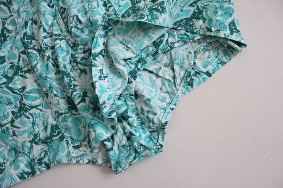 1960s floral swimsuit | zip front swimsuit | aqua… - image 3