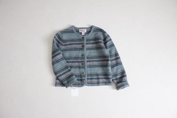 striped wool jacket | boiled wool coat | blue stri