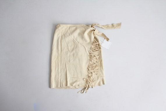 fringe wrap skirt | lambskin suede skirt | suede w