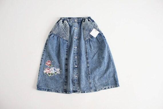 full denim skirt | floral denim skirt | acid wash