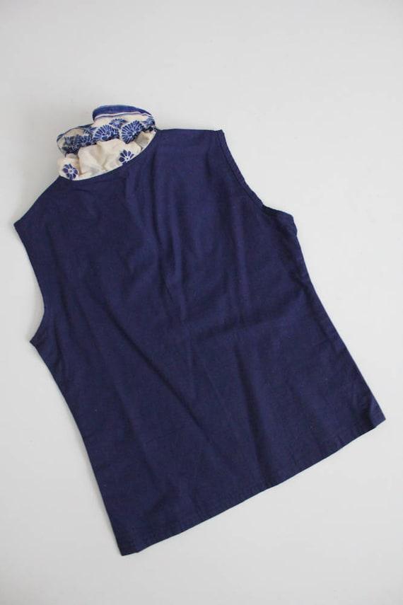 antique lace blouse | navy blue linen top | blue … - image 5