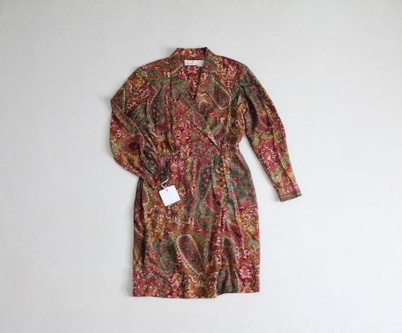 silk floral dress   autumn floral dress   collared