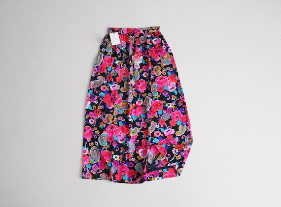 neon pink floral skirt | 1970s maxi skirt | psyche