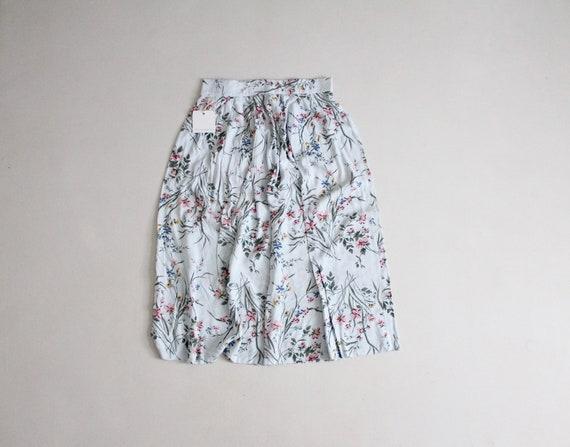 floral midi skirt | 1990s floral skirt blue floral
