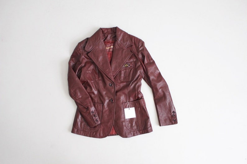 0162c5cc7 Etienne Aigner leather jacket   maroon leather coat   red fitted leather  jacket