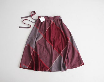 plaid wool skirt | maroon and grey plaid skirt | full plaid skirt
