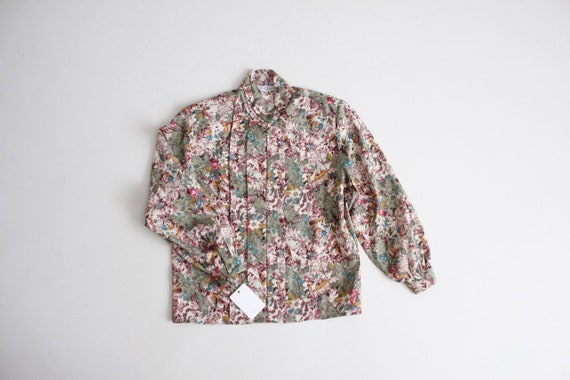forest floral blouse | green floral shirt | pleate