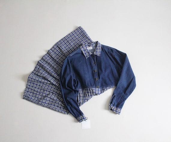 plaid denim dress | blue plaid dress | long denim