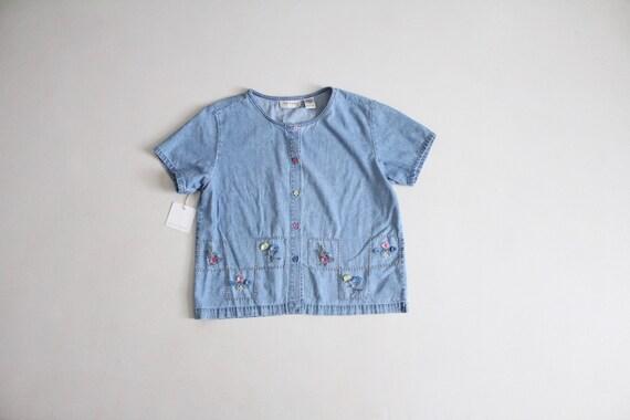 floral denim blouse   applique blouse   boxy denim