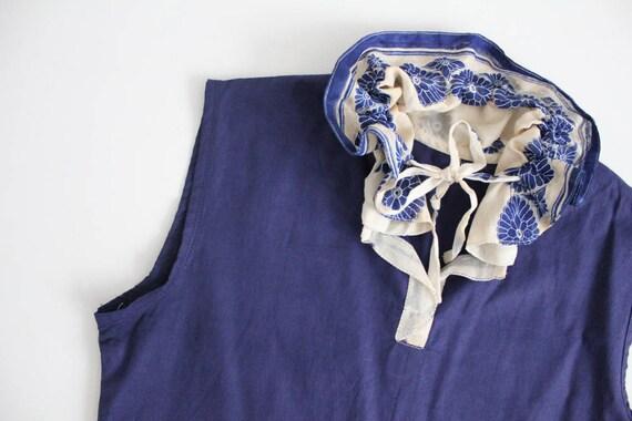 antique lace blouse | navy blue linen top | blue … - image 2