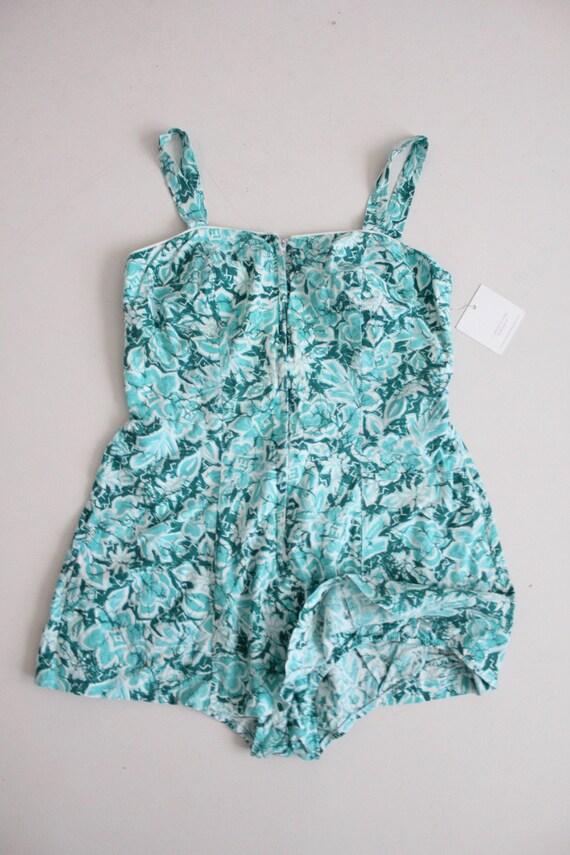 1960s floral swimsuit | zip front swimsuit | aqua… - image 2