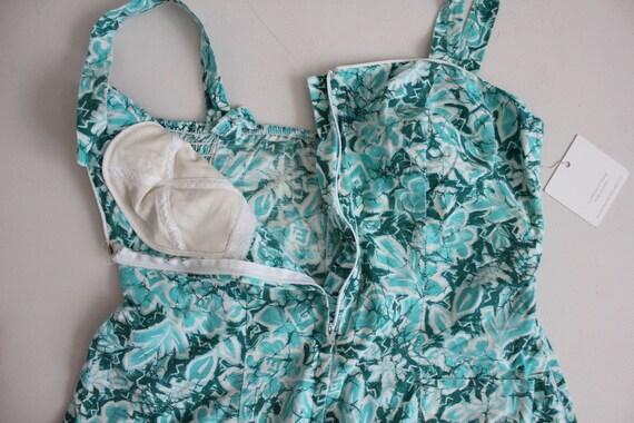 1960s floral swimsuit | zip front swimsuit | aqua… - image 5