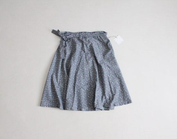 floral wrap skirt | blue floral skirt | 1970s wrap