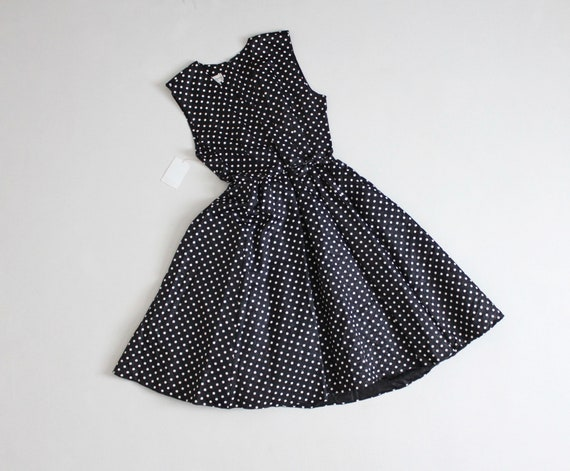 black and white polka dot party dress