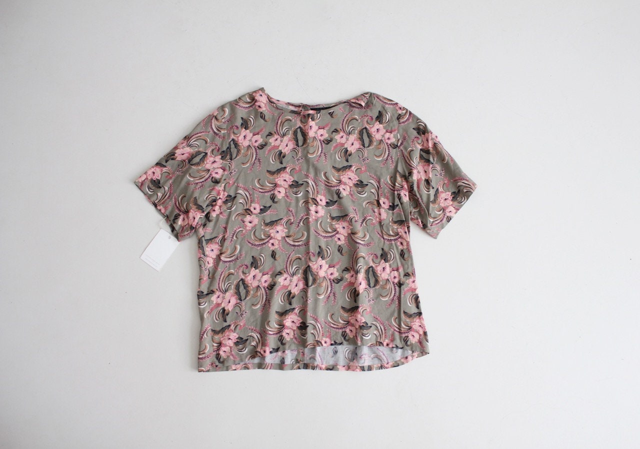 Floral T Shirt Pink Floral Blouse Boxy Floral Top Etsy