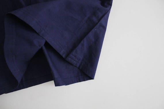 antique lace blouse | navy blue linen top | blue … - image 3