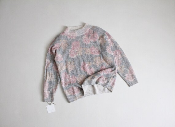 floral silk sweater | muted floral sweater | fuzzy