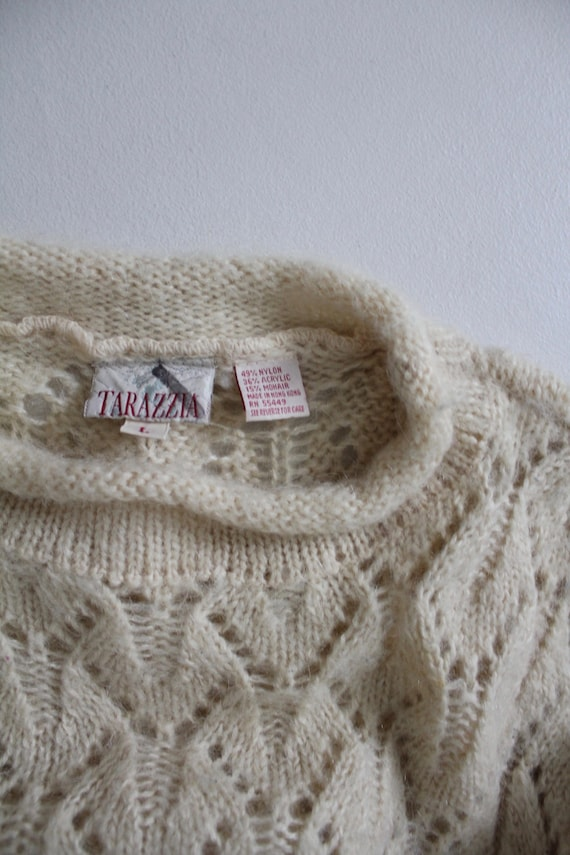 cream mohair sweater | pointelle sweater | fuzzy … - image 3