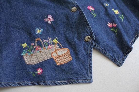 embroidered denim vest | denim floral vest | deni… - image 2
