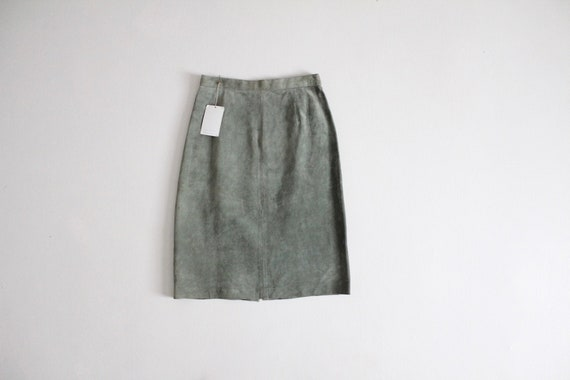 green suede skirt | suede leather skirt | muted gr