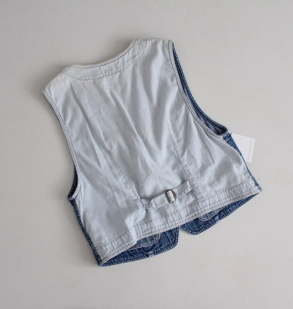 striped denim vest   cropped denim vest   denim c… - image 6