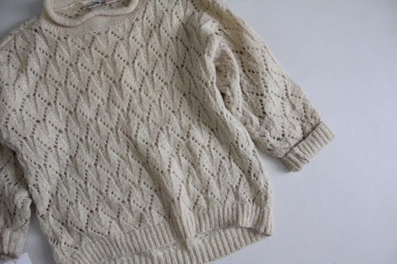 cream mohair sweater | pointelle sweater | fuzzy … - image 2
