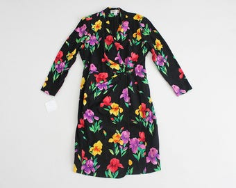 floral silk dress   silk wrap dress   80s floral dress