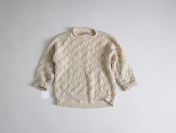 cream mohair sweater | pointelle sweater | fuzzy w