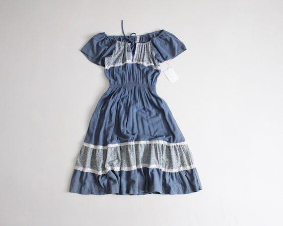 blue peasant dress | vintage 1970s dress | blue pr