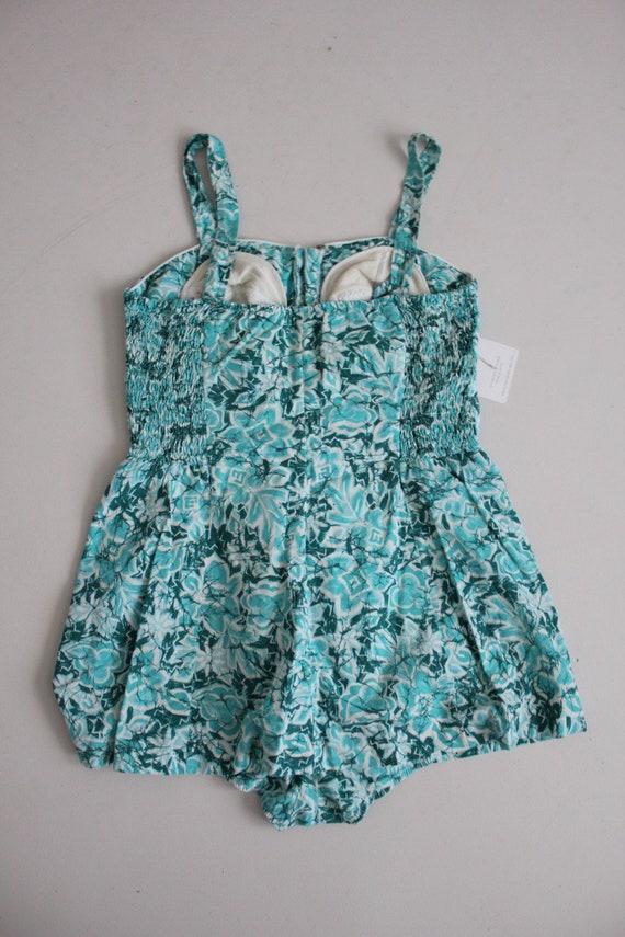 1960s floral swimsuit | zip front swimsuit | aqua… - image 6