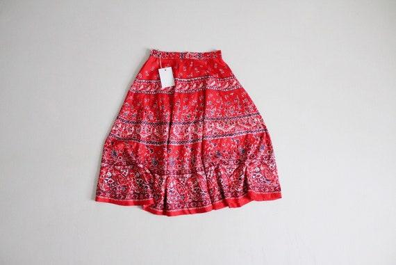 red bird skirt | vintage 1960's skirt | bird patt… - image 1