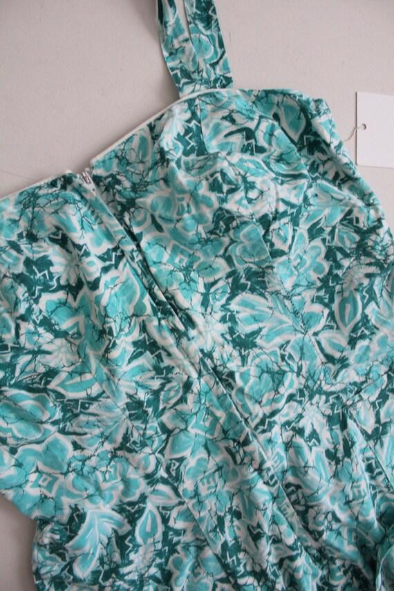 1960s floral swimsuit | zip front swimsuit | aqua… - image 4