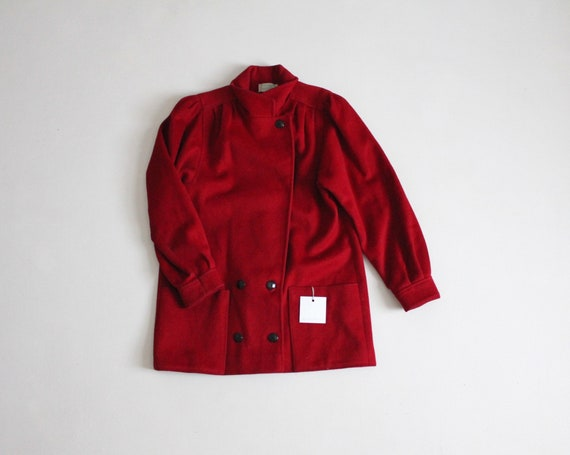 scarlet red coat   red wool coat   chunky red coat