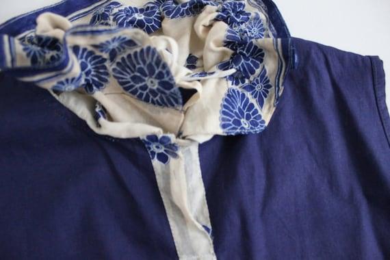 antique lace blouse | navy blue linen top | blue … - image 4