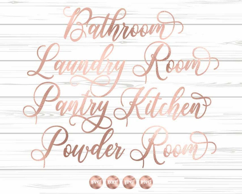 Bathroom Svg Dxf Png Jpg Powder Room, Kitchen, Pantry, Laundry Room, Wood  Sign Stencil, Vinyl Decal Svg Set, Home Svg Set, Room Labels