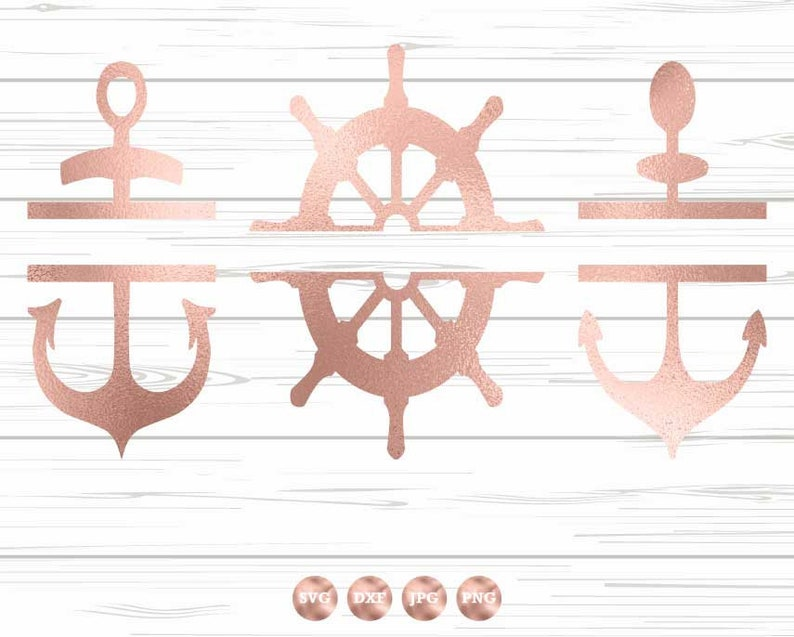 Split Anchor Set SVG DXF PNG, Ship Wheel, Anchors svg, Nautical svg Set,  Nautical Bundle, Anchor svg Design, Anchor svg File, Cricut svg