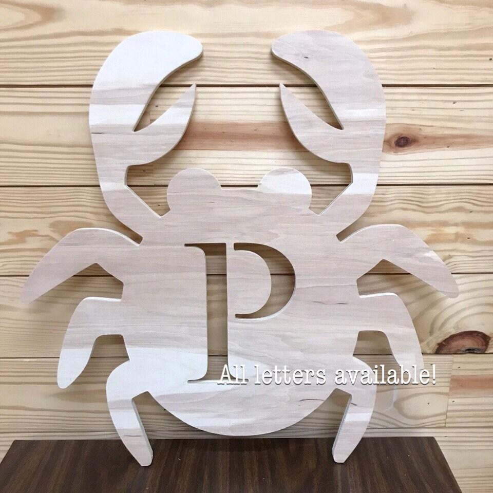 FAST SHIPPING Crab With Initial Door Hanger Beach House Front Door Door  Hanger Initial Unfinished