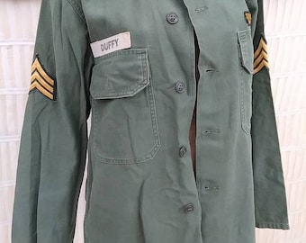 afcc7293ac Vintage 70s Distressed Patched Army Shirt   Chore Jacket