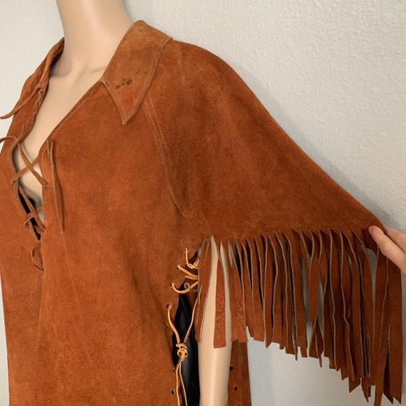 Vintage 70s Fringe Suede Capelet / Fringe Jacket - image 9