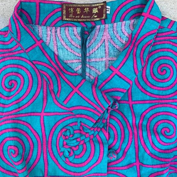 Vintage 80s Asian Linen Cheongsam Pop Art Top - image 3