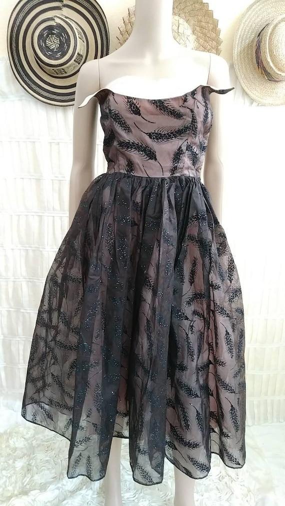 50s wheat rainbow glitter prom dress size xs - image 1